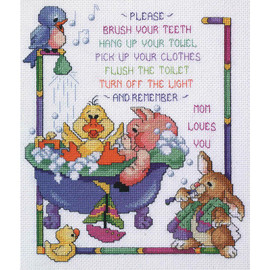 "Bathtime Rules Counted Cross Stitch Kit 10""X12""By Janlynn"