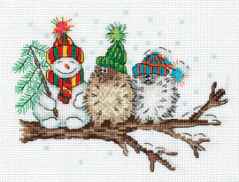 Klart Snowman and Birds Counted Cross Stitch Kit By Panna