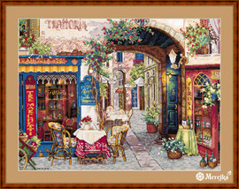 Cafe in Verona Counted Cross Stitch Kit by Merejka