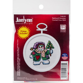 Patchwork Snowman Mini Counted Cross Stitch Kit by Janlynn