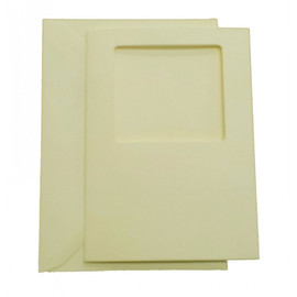 Pack of 5 C6 Square Cream Aperture Card 5.5 x 4""