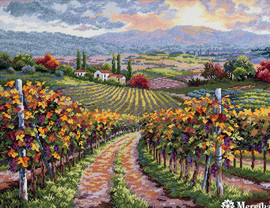 Vineyard Hill Counted Cross Stitch Kit by Merejka