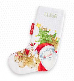 Santa & Reindeer Christmas Stocking Making Kit Cross Stitch By Luca-S