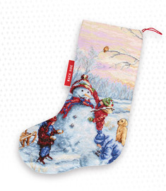 Building a Snowman Christmas Stocking Making Kit Cross Stitch Kit By Luca-S