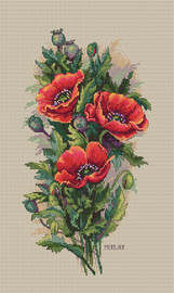 Vintage Poppies on Linen Counted Cross Stitch Kit by Merejka