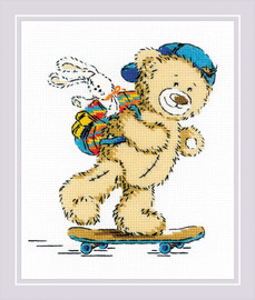 Teddy Bear Holiday Counted Cross Stitch Kit by Riolis