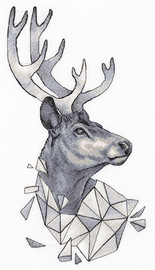 Geometry Deer Counted Cross Stitch Kit by Panna
