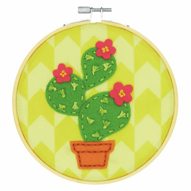 Felt Applique Kit with Hoop: Cactus by Bothy Threads