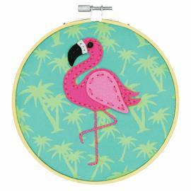 Felt Applique Kit with Hoop: Flamingo