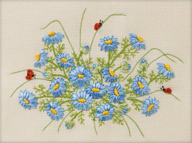 Cornflowers Ribbon Embroidery Kit by Panna