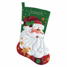 Felt Applique: Stocking: Sequined Santa By Dimensions