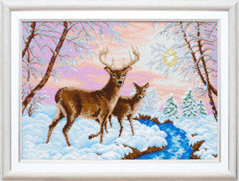 VDV Deer in Winter Beaded Embroidery Kit by Panna