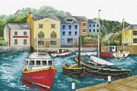 Fishing Village Printed Cross Stitch Kit by Needleart World