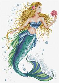 Mermaid Wish Printed Cross Stitch Kit by Needleart World