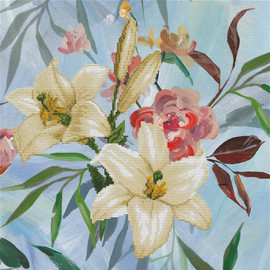 Wild Lily Bouquet Printed Cross Stitch Kit by Needleart World