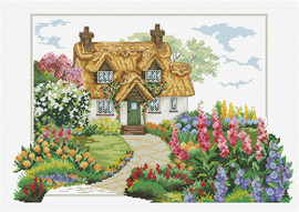 Foxgloves Cottage Printed Cross Stitch Kit by Needleart World