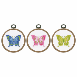 Butterflies Embroidery Kit with Rings Set of 3 by Vervaco