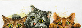 Curious Kittens Printed Cross Stitch Kit by Needleart World