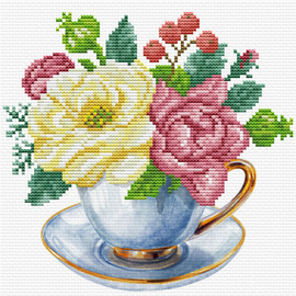 Blue Cup Printed Cross Stitch Kit by Needleart World
