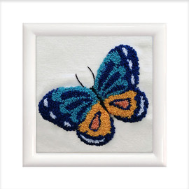 Blue Butterfly Punch Needle Kit by Needleart World