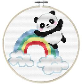 Rainbow Panda Printed Cross Stitch Kit by Needleart World