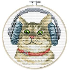 DJ Kitty Printed Cross Stitch Kit by Needleart World
