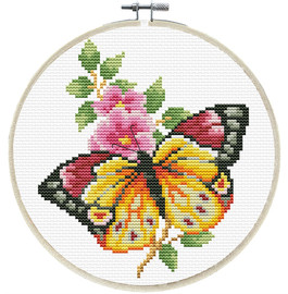 Butterfly Bouquet Printed Cross Stitch Kit by Needleart World
