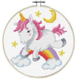Unicorn Frolic Printed Cross Stitch Kit by Needleart World