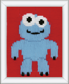 Little Blue Monster Long Stitch Kit By Vervaco