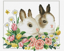 Spring Bunnies Printed Cross Stitch Kit By Needleart World