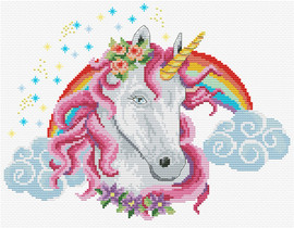 Rainbow Unicorn Printed Cross Stitch Kit By Needleart World