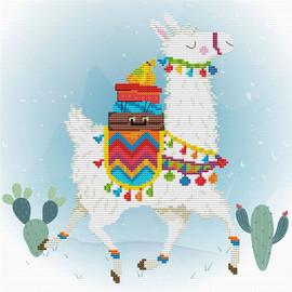Holiday Llama Printed Cross Stitch Kit By Needleart World