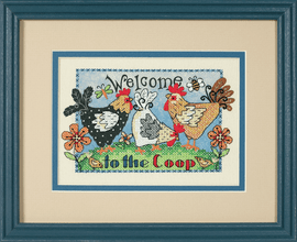 Mini Stamped Cross Stitch: Welcome To The Coop By Dimensions