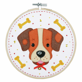 Dog Felt Craft Kit with Frame by Vervaco