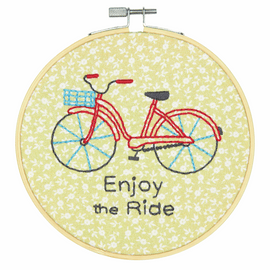 Bike Ride Embroidery Kit with Hoop by Dimensions