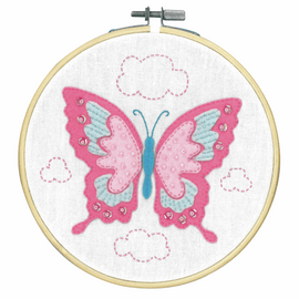 Butterfly Embroidery Kit with Ring by Vervaco
