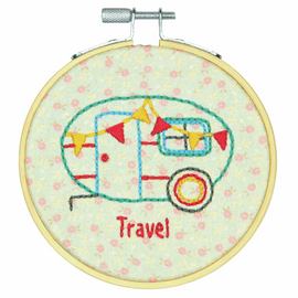 Camper Embroidery Kit with Hoop by Dimensions