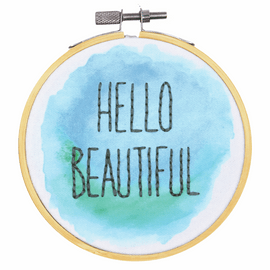 Hello Beautiful Embroidery Kit with Hoop by Dimensions