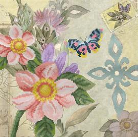 Butterfly Garden Printed Cross Stitch Kit By Needleart World