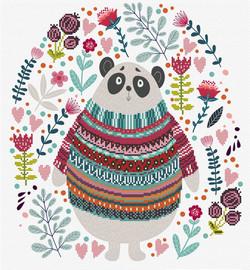 Panda Couture Printed Cross Stitch Kit By Needleart World