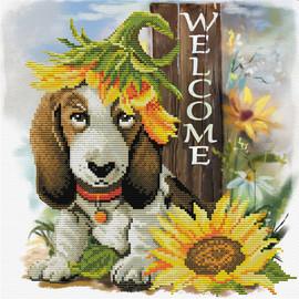 Sunflower Hound Printed Cross Stitch Kit By Needleart World