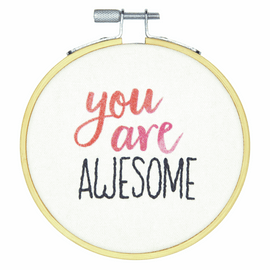 Crewel: You Are Awesome Embroidery Kit with Hoop By Dimensions