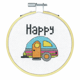 Happy Camper Counted Cross Stitch Kit with Hoop By Dimensions