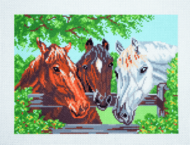 Printed Aida Fabric: Three Horses By Collection d'Art