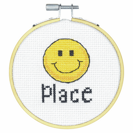 Happy Place Counted Cross Stitch Kit with Hoop by Dimensions