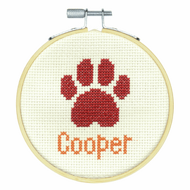 Paw Print Counted Cross Stitch Kit with Hoop by Dimensions