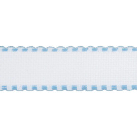 Groves and Banks 16 count aida band white/ pale blue edging offcut 9 x 95cm