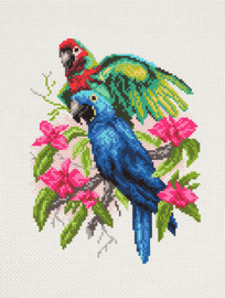 Printed Aida Fabric: Parrots by Collection d'Art