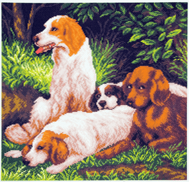 Printed Aida Fabric: Dogs on a Rest by Collection D'Art