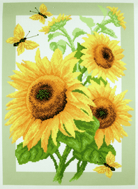 Printed Aida Fabric: Sunflowers by Collection D'Art